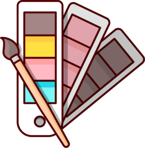 paint brush with color palettes